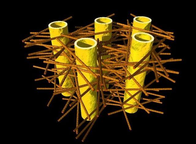 """Илюстрацията показва сложната биоструктура на дентина: денталните тубули (жълти кухи цилиндърчета с диаметър около 1 микрометър) са заобиколени от слоеве минерализирани колагенни влакна (кафявите пръчици). Миниатюрните наночастици са прикрепени към колагенните фибри и не са видими тук. Снимка: Жан-Батист Фориен, """"Шарите"""""""